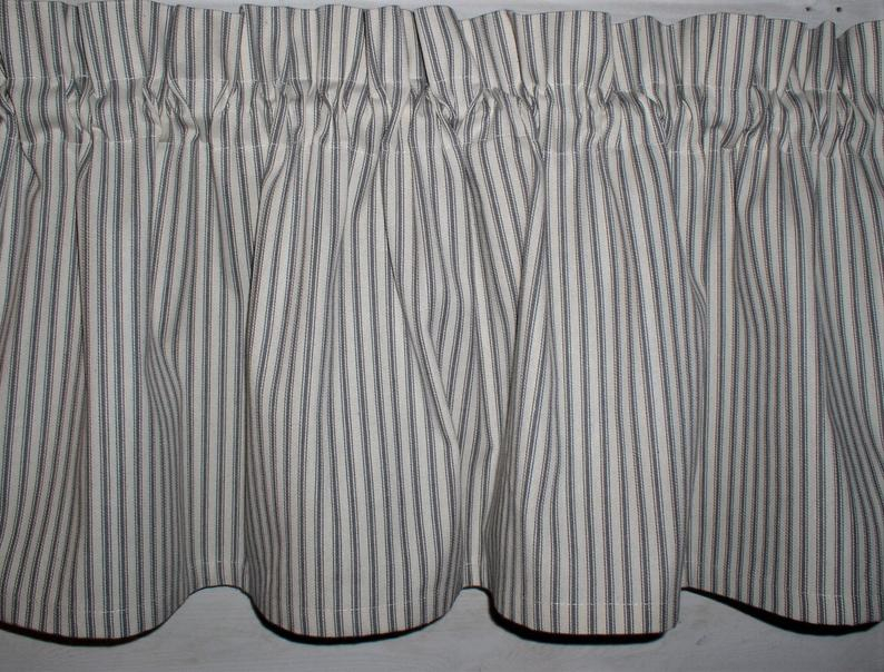 Gray & Off White Ticking Valances Spring Farmhouse Curtains Tiers Runners  Gray Country Curtains Primitive Easter Valances Within Classic Black And White Curtain Tiers (View 17 of 50)