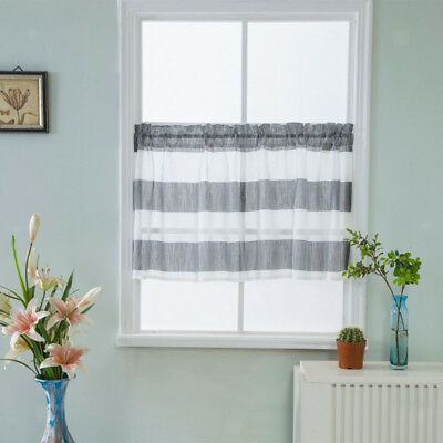 Gray Striped Half Window Curtains Kitchen Valance Privacy Window Curtains |  Ebay Inside Micro Striped Semi Sheer Window Curtain Pieces (#9 of 30)
