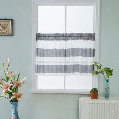 Gray Striped Half Window Curtains Kitchen Valance Privacy Window Curtains | Ebay With Regard To Ivory Micro Striped Semi Sheer Window Curtain Pieces (View 15 of 50)