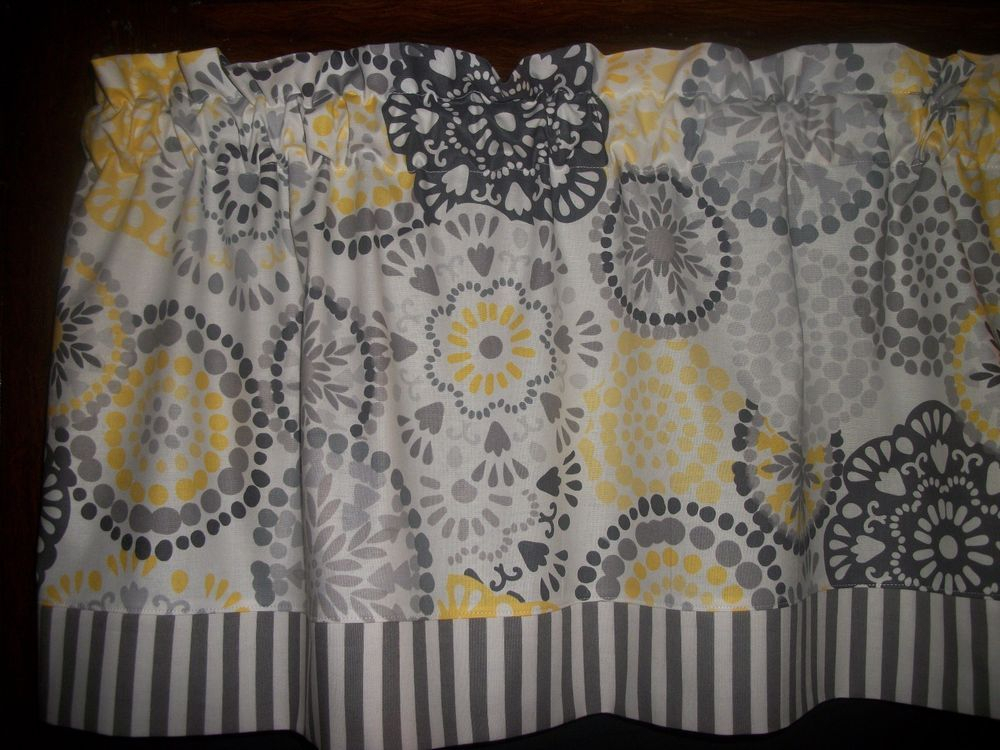 Gray Stripes Yellow Circles Retro Mid Century Waverly Fabric In Circle Curtain Valances (View 18 of 30)