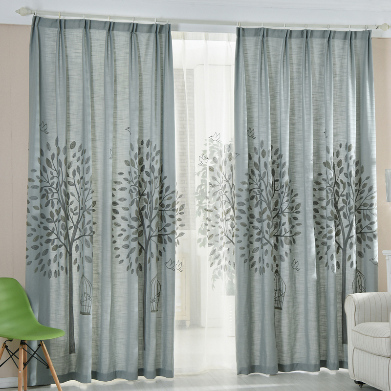 Gray Tree Embroidery Linen/cotton Blend Country Living Room Curtains Pertaining To Cotton Blend Classic Checkered Decorative Window Curtains (View 15 of 30)