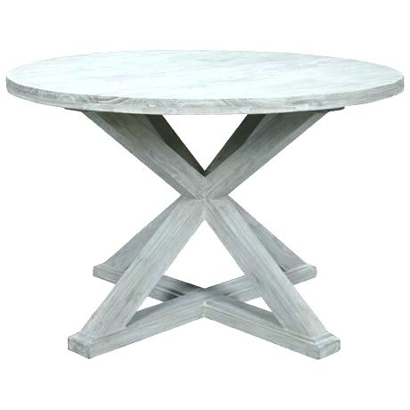 Gray Wash Banks Pedestal Extending Dining Tables Intended For Latest Grey Washed Round Dining Table – Blogie (#7 of 20)