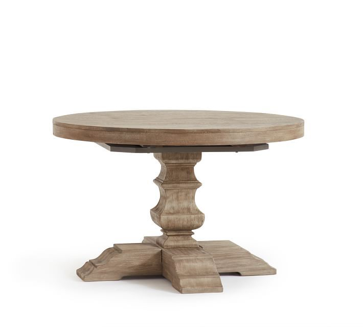Gray Wash Banks Pedestal Extending Dining Tables Pertaining To Favorite Banks Pedestal Extending Dining Table, Gray Wash In  (#10 of 20)