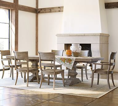 Gray Wash Benchwright Dining Tables Regarding Well Known Banks Extending Dining Table Medium & 6 Bradford Side Chairs (#10 of 20)