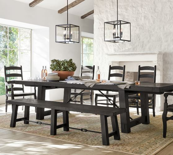 Gray Wash Benchwright Pedestal Extending Dining Tables Throughout Trendy Benchwright Extending Dining Table, Blackened Oak In  (#11 of 30)