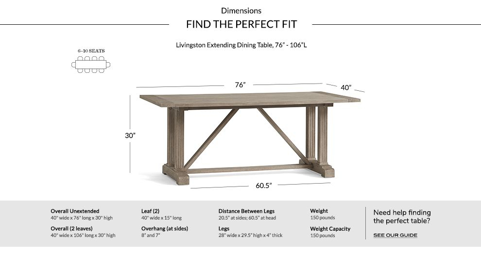 "Gray Wash Livingston Extending Dining Tables Intended For Well Known Livingston Extending Dining Table, Gray Wash, 76"" – 106"" L (#10 of 30)"