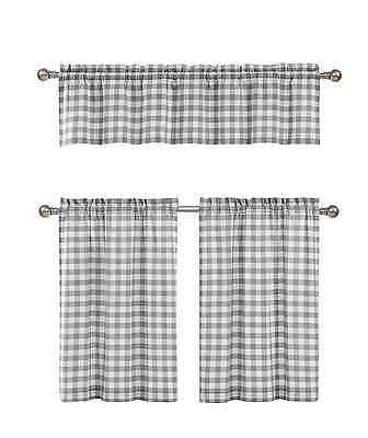 Gray & White Cotton Blend Gingham Tartan Country Plaid Kitchen Curtain Set  784411243699 | Ebay Throughout Classic Navy Cotton Blend Buffalo Check Kitchen Curtain Sets (View 13 of 30)