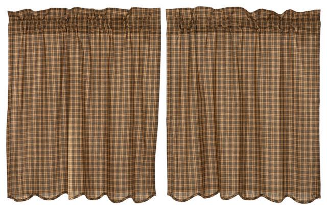 Green Rustic Kitchen Curtains Ridgeline Tier Rod Pocket Cotton Plaid, Set Of 2 Regarding Lodge Plaid 3 Piece Kitchen Curtain Tier And Valance Sets (View 17 of 30)