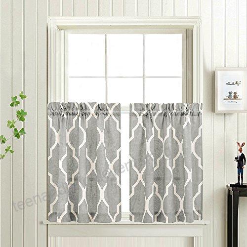 Grey Moroccan Tile Print Tier Curtains For Kitchen Lattice Regarding Kitchen Window Tier Sets (#22 of 50)