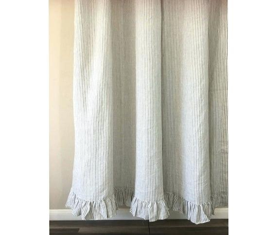 Grey Ruffle Curtains Gray Bedroom – Kurspilotow Pertaining To Silver Vertical Ruffled Waterfall Valance And Curtain Tiers (View 43 of 50)