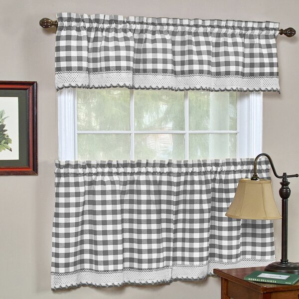 Grey Valance Curtains | Wayfair Inside Twill 3 Piece Kitchen Curtain Tier Sets (View 4 of 42)