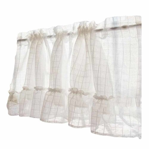 Grid – Translucent Short Kitchen Curtain Window Curtain Cafe Tier Curtain  Gauze Throughout Cotton Blend Grey Kitchen Curtain Tiers (View 23 of 47)