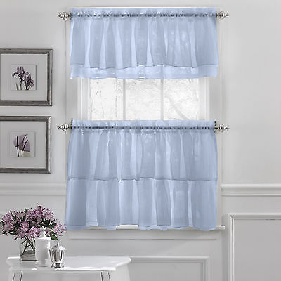 Gypsy Crushed Voile Ruffle Kitchen Window Curtain Tiers Or Valance Blue |  Ebay Pertaining To Bermuda Ruffle Kitchen Curtain Tier Sets (View 22 of 50)