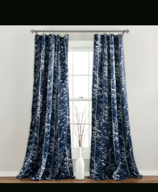 """Half Moon Forest Window Curtain Panel Set 52X84"""" Navy Blue White Gray Room  Dark Inside Forest Valance And Tier Pair Curtains (View 13 of 30)"""