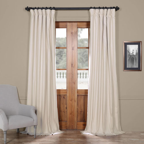 Half Price Drapes Hazelwood Beige 50 X 120 Inch Solid Cotton Blackout  Curtain Regarding Rod Pocket Cotton Solid Color Ruched Ruffle Kitchen Curtains (#12 of 30)