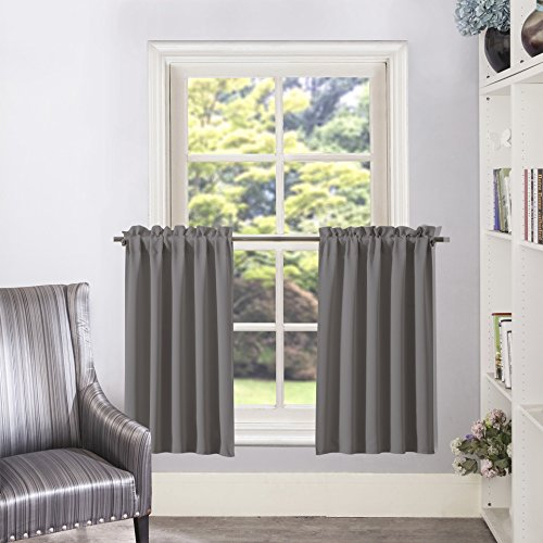Half Window Blackout Curtain Tiers/ Valance – Aquazolax Rod For Grey Window Curtain Tier And Valance Sets (View 30 of 50)