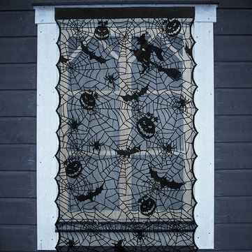 Halloween Led Light Up Black Lace Window Curtains Door Scary Cloth Party  Decorations Inside Marine Life Motif Knitted Lace Window Curtain Pieces (#14 of 48)