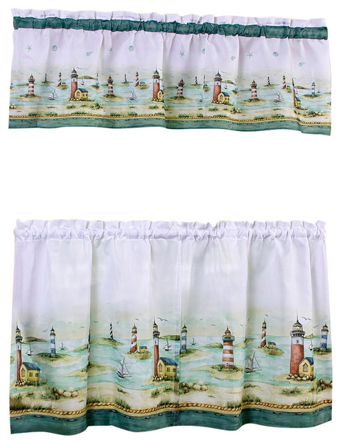 """Hamptons Printed 58""""x24"""" Tier Pair And 58""""x13"""" Valance Set Intended For Live, Love, Laugh Window Curtain Tier Pair And Valance Sets (View 27 of 50)"""