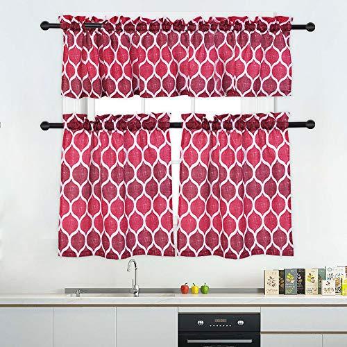 Haperlare 3 Pieces Kitchen Curtain Tier & Valance Set Throughout Kitchen Window Tier Sets (#23 of 50)