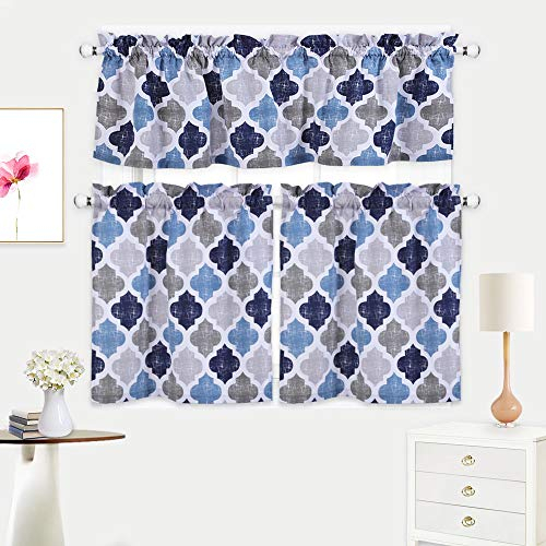 Haperlare 3 Pieces Moroccan Kitchen Curtains Tier & Valance Intended For Cotton Blend Grey Kitchen Curtain Tiers (View 24 of 47)