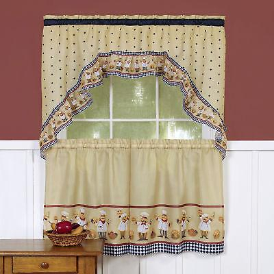 Happy Chef Kitchen Curtain Tier And Swag Regarding 5 Piece Burgundy Embroidered Cabernet Kitchen Curtain Sets (#33 of 50)