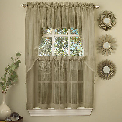Harmony Mocha Micro Stripe Semi Sheer Kitchen Curtains 36 Throughout Floral Embroidered Sheer Kitchen Curtain Tiers, Swags And Valances (View 25 of 50)