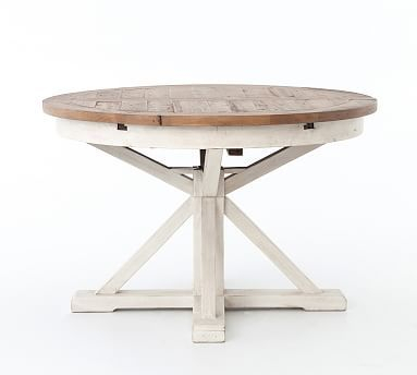 Hart Reclaimed Pedestal Extending Dining Table, Driftwood Throughout Most Current Driftwood White Hart Reclaimed Pedestal Extending Dining Tables (View 3 of 30)