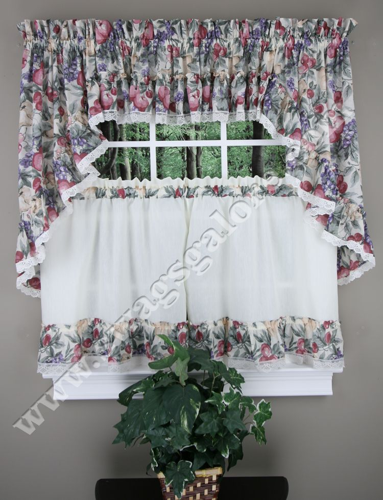 Harvest Fruit Kitchen Curtains Have A Lovely Multi Color With Regard To Multicolored Printed Curtain Tier And Swag Sets (View 13 of 30)