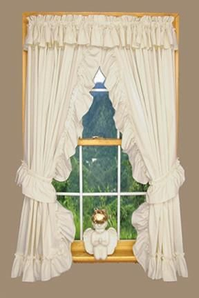 Heather Solid Color Ruffled Priscilla Window Curtains With Inside Elegant White Priscilla Lace Kitchen Curtain Pieces (View 4 of 30)