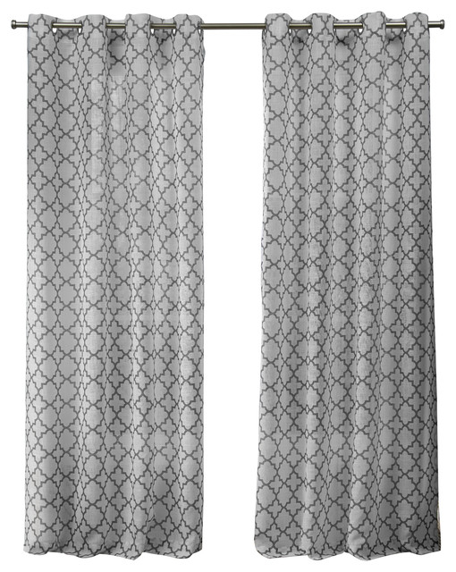 Helena Printed Grommet Top Window Curtain Panel Pair, 54X96, Dove Gray With Dove Gray Curtain Tier Pairs (View 15 of 30)