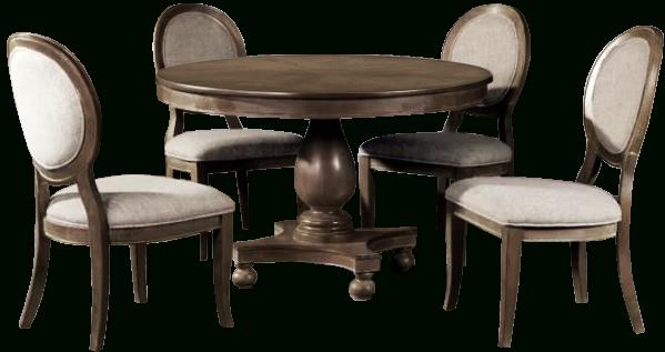 Hewn Oak Lorraine Pedestal Extending Dining Tables Regarding Best And Newest Bloomingdale 5 Piece Dining Set (#5 of 20)