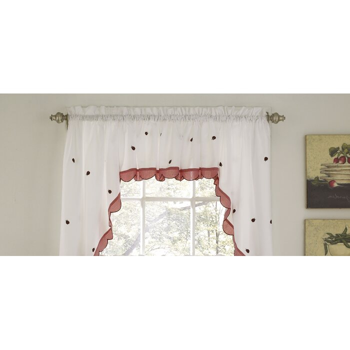 "Higham Traditional Elegance 56"" Window Valance Cafe Curtain For Embroidered Ladybugs Window Curtain Pieces (View 15 of 50)"