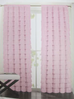 Hillcrest Kids Ruffle Tiered Window Curtain Panel Drapes Pink Chic Princess  | Ebay In Bermuda Ruffle Kitchen Curtain Tier Sets (View 23 of 50)