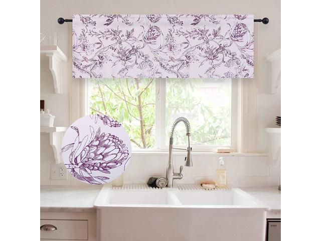 Holking Floral Pattern Valances For Windows Blackout Window Valances For  Kitchen/bathroom Rod Pocket Valance Curtains 52 Inch Wide18 Inch  Long,one With Regard To Floral Pattern Window Valances (View 23 of 50)