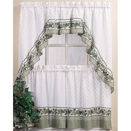 Home Decor : 14 Kitchen Curtains Popular Chf You Cottage Ivy In Classic Black And White Curtain Tiers (View 20 of 50)