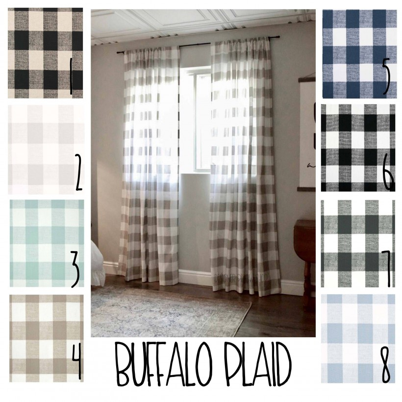 Home Decor: Dazzling Buffalo Check Curtains With Exciting Inside Classic Navy Cotton Blend Buffalo Check Kitchen Curtain Sets (View 17 of 30)