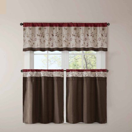 Home Essence Monroe Embroidered Kitchen Tier | Products Intended For Serene Rod Pocket Kitchen Tier Sets (View 18 of 30)