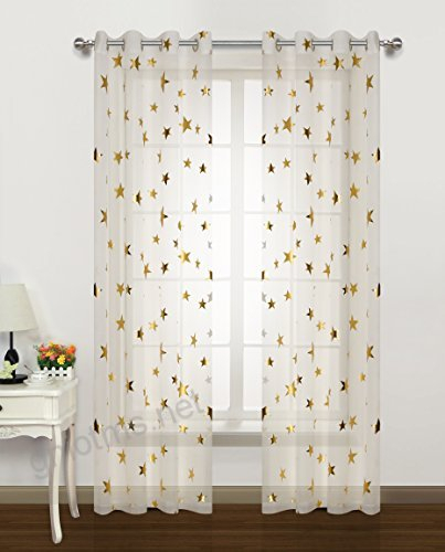 Home Fashion Sheer Curtains Grommets Top Romantic Gold Star For Floral Watercolor Semi Sheer Rod Pocket Kitchen Curtain Valance And Tiers Sets (View 11 of 50)