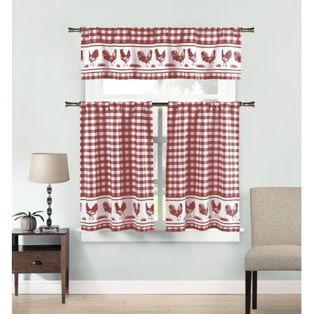 Popular Photo of Kitchen Burgundy/white Curtain Sets