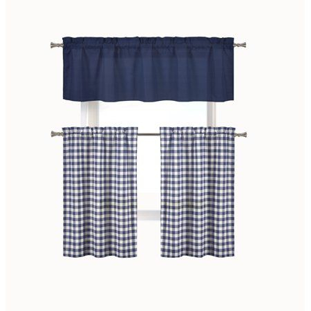 Home | Jake's Place In 2019 | Kitchen Curtain Sets, Walmart Regarding Classic Navy Cotton Blend Buffalo Check Kitchen Curtain Sets (View 18 of 30)