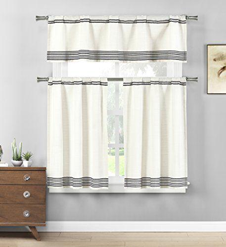 Home Maison – Wilmont Striped Cotton Blend Textured Kitchen Inside Cotton Blend Grey Kitchen Curtain Tiers (View 27 of 47)