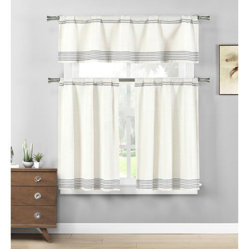 Home Maison Wilmont Striped Kitchen 3 Piece Window Curtain With Grey Window Curtain Tier And Valance Sets (View 33 of 50)