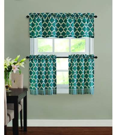 Home | Products | Kitchen Window Curtains, Tier Curtains In Geometric Print Microfiber 3 Piece Kitchen Curtain Valance And Tiers Sets (View 11 of 30)