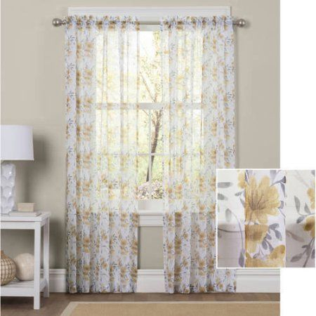 Home   Sheer Curtain Panels, Home Decor, Home Decor Styles Pertaining To Floral Watercolor Semi Sheer Rod Pocket Kitchen Curtain Valance And Tiers Sets (View 14 of 50)