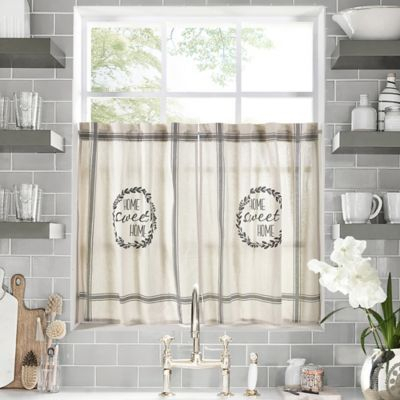"""Home Sweet Home 24"""" Kitchen Window Curtain Tier Pair In For Farmhouse Stripe Kitchen Tier Pairs (View 2 of 30)"""