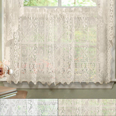 Hopewell Heavy Floral Lace Kitchen Window Curtain 24 X 58 Tier | Ebay Within Red Delicious Apple 3 Piece Curtain Tiers (View 46 of 50)