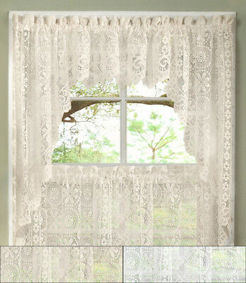 Hopewell Heavy Floral Lace Kitchen Window Curtain Swag Pair With Elegant White Priscilla Lace Kitchen Curtain Pieces (View 5 of 30)