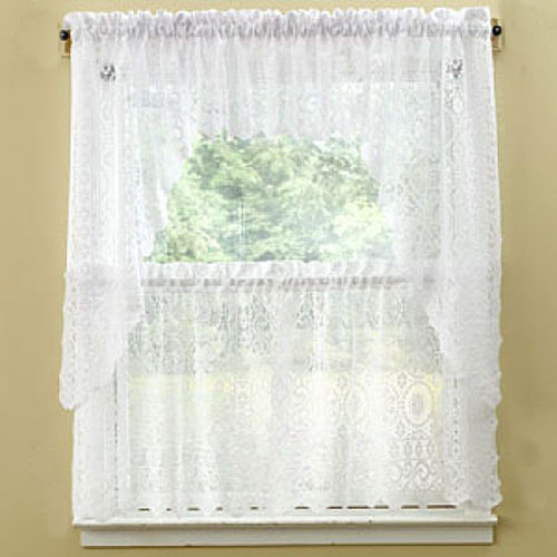 Hopewell Lace Tier Curtain Collection | Boscov's Throughout Tailored Valance And Tier Curtains (#19 of 50)