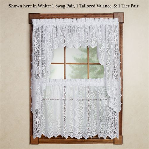 Hopewell Lace Tier Window Treatment With Regard To Sheer Lace Elongated Kitchen Curtain Tier Pairs (#12 of 30)