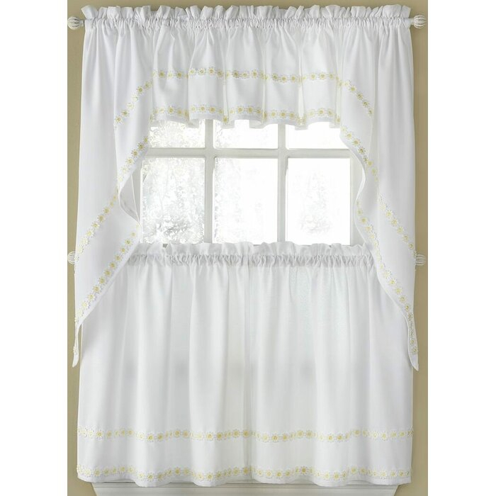 "Horrell Faux Linen Daisy Floral Applique Tailored 56"" Kitchen Curtain Pertaining To Spring Daisy Tiered Curtain 3 Piece Sets (View 17 of 30)"